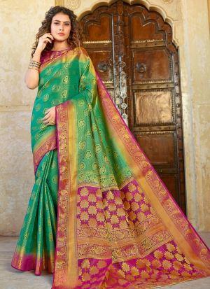 Silk Green Indian Wear Saree