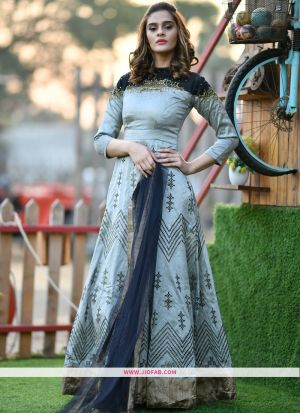 Silk Grey Hand Work Festival Trendy Gown