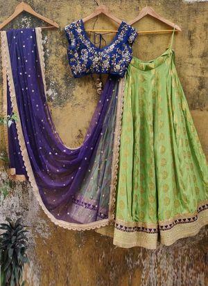 Silk Jequard Fabric Bird Green Lehenga Choli With Blue Dupatta