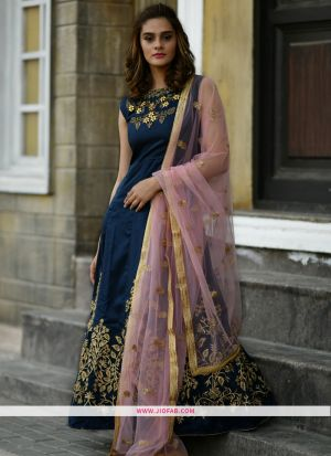 Silk Navy Hand Work Festival Trendy Gown