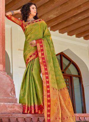 Silk Parrot South Indian Saree