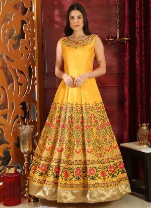 Silk Yellow Designer Gown