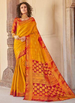 Silk Yellow Indian Wear Saree