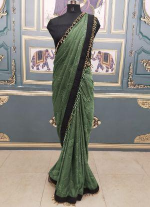 Simple Mehendi Color Moti Work Causal Wear Saree