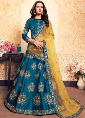 Sky Blue Embroidered Designer Lehenga Choli For Wedding