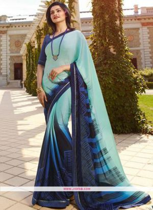 Sky Blue Printed Chiffon Saree With Fancy Border