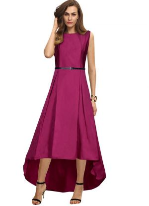 Sleeveless Rani Pink Party Wear Gown