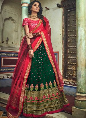 Soft Net Green Lehenga Choli For Engagement Party
