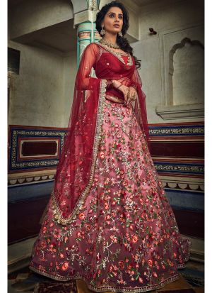 Soft Net Peach And Red Lehenga Choli For Wedding