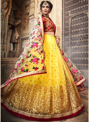Soft Net Yellow Designer Lehenga Choli