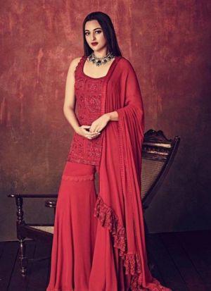 Sonakshi Sinha In Maroon Sharara Suit At Kalank Trailer Launch