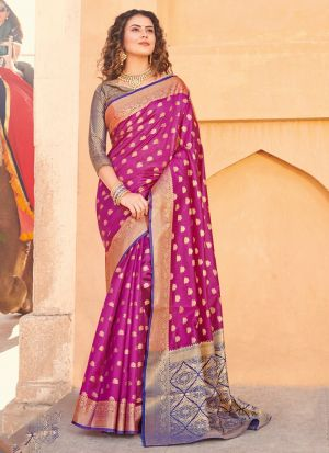 South Indian Wedding Handloom Silk Magenta Saree