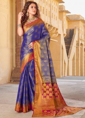 South Indian Wedding Silk Purple Saree