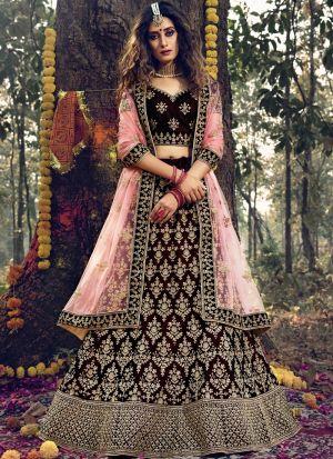 Stone Work Maroon Pure Velvet Bridal Lehenga Choli