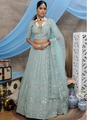 Stunning Dusty Green Embroidered Party Wear Lehenga Choli