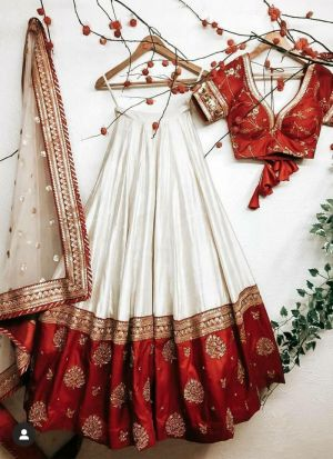 Stunning White And Red Traditional Wear Taffeta Silk Lehenga Choli