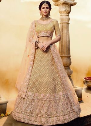 Stylish Aari Embriodered Golden Soft Net Lehenga Choli