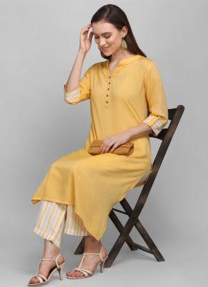 Stylish Light Yellow Printed Long Kurti