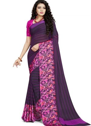 Stylish Look Georgette Purple Indian Wear Saree