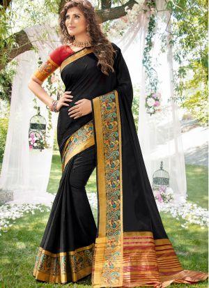 Stylish Look Khadi Silk Black Indian Wear Saree