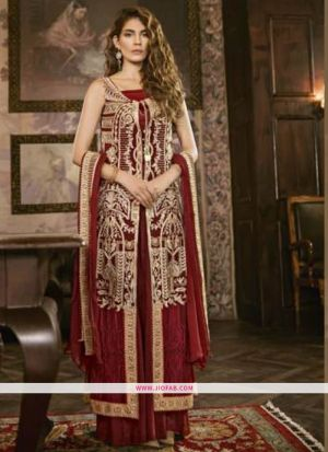Stylish Maroon Embroidered Foux Georgette Designer Salwar Suit