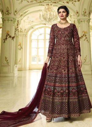 Summer Special Maroon Heavy Net Salwar Suit