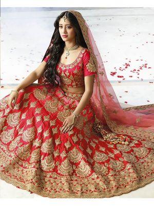 Taffeta Silk Red Wedding Designer Lehenga With Heavy Naylon Net Dupatta