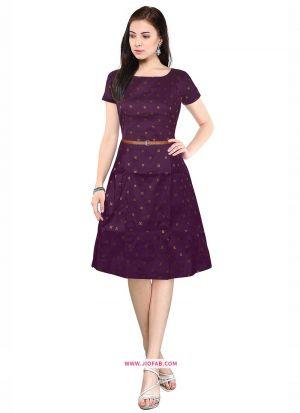 Taffeta Western Wear Dress In Wine Color