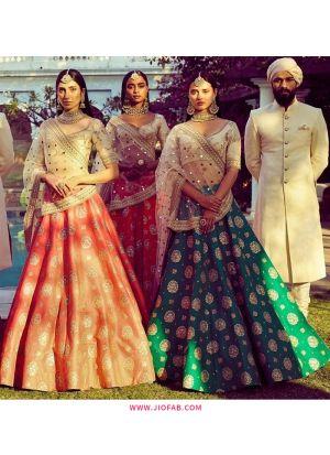 Tangerine Heavy Embroidery Malai Satin Fabric Festival Designer Lehenga With Bridal Net Dupatta