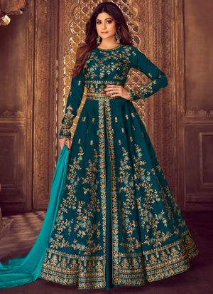 Teal Blue Mulberry Silk Embroidered Pakistani Suit