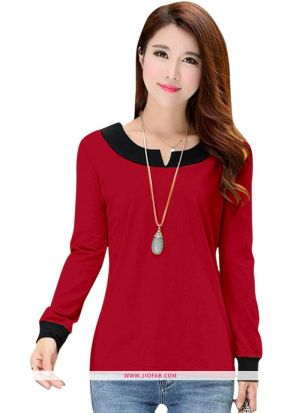 Tipsy Red Imported Fabric Plain Girls Trendy T Shirt