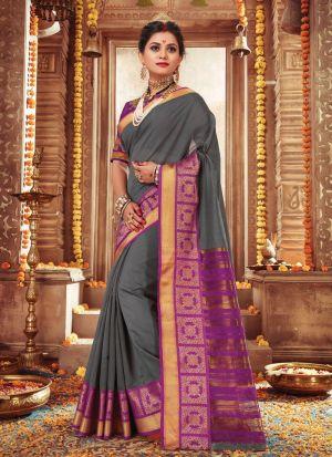 Traditional Grey Wedding Handloom Silk Saree