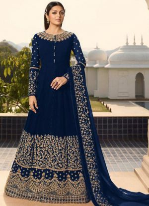 Traditional Navy Faux Georgette Floor Length Salwar Suit