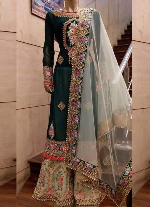 Traditional Wear Dark Green Thread Work Mono Net Sharara Suit