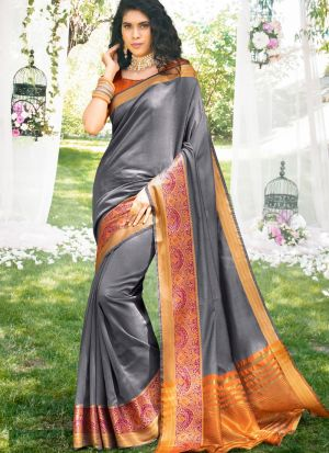 Traditional Wear Grey Thread Work Awesome Saree