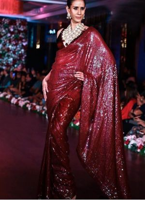 Trendy Maroon Fancy Sequence Bollywood Style Saree