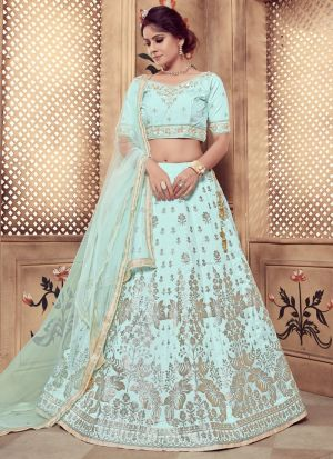 Turquoise Blue Color Rubber Foil Work Silk Designer Lehenga Choli