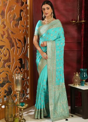 Turquoise Embroidered Silk Party Wear Saree