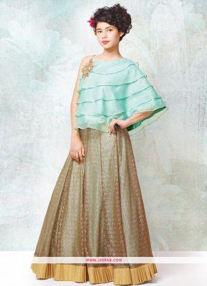 Turquoise Foux Georgette Designer Kids Girl Traditional Lehenga Choli