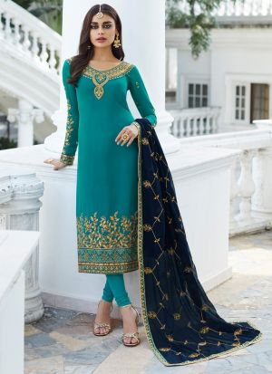 Turquoise Georgette Staight Cut Suits For Party