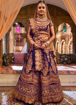 Upcoming Royal Blue Pure Velvet Latest Bridal Lehenga Design