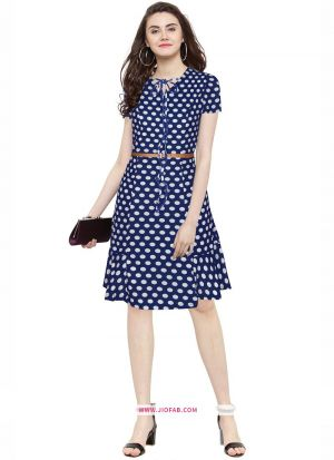 Us Polo Imported Western Wear Frock In Blue Color