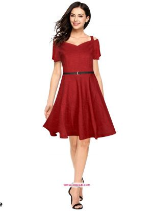 Us Polo Imported Western Wear Frock In Maroon Color