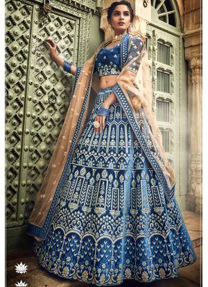 Velvet Blue Designer Lehenga Choli
