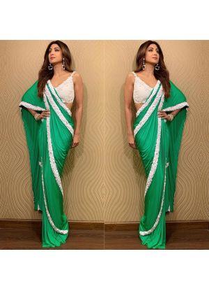 Vichitra Silk Parrot Bollywood Style Shilpa Shetty Saree
