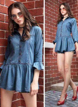 Vintage Colour Blue Denim Cotton Top