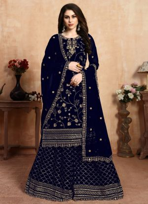 Wedding Collection Faux Georgette Blue Palazzo Suits