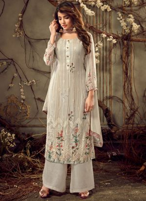 Wedding Collection Georgette Off White Palazzo Suits