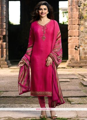 Wedding Designer Embroidered Dark Pink Crepe Salwar Suit