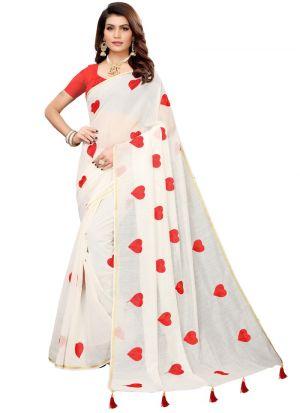 White Chanderi Cotton Solid Trendy Designer Saree